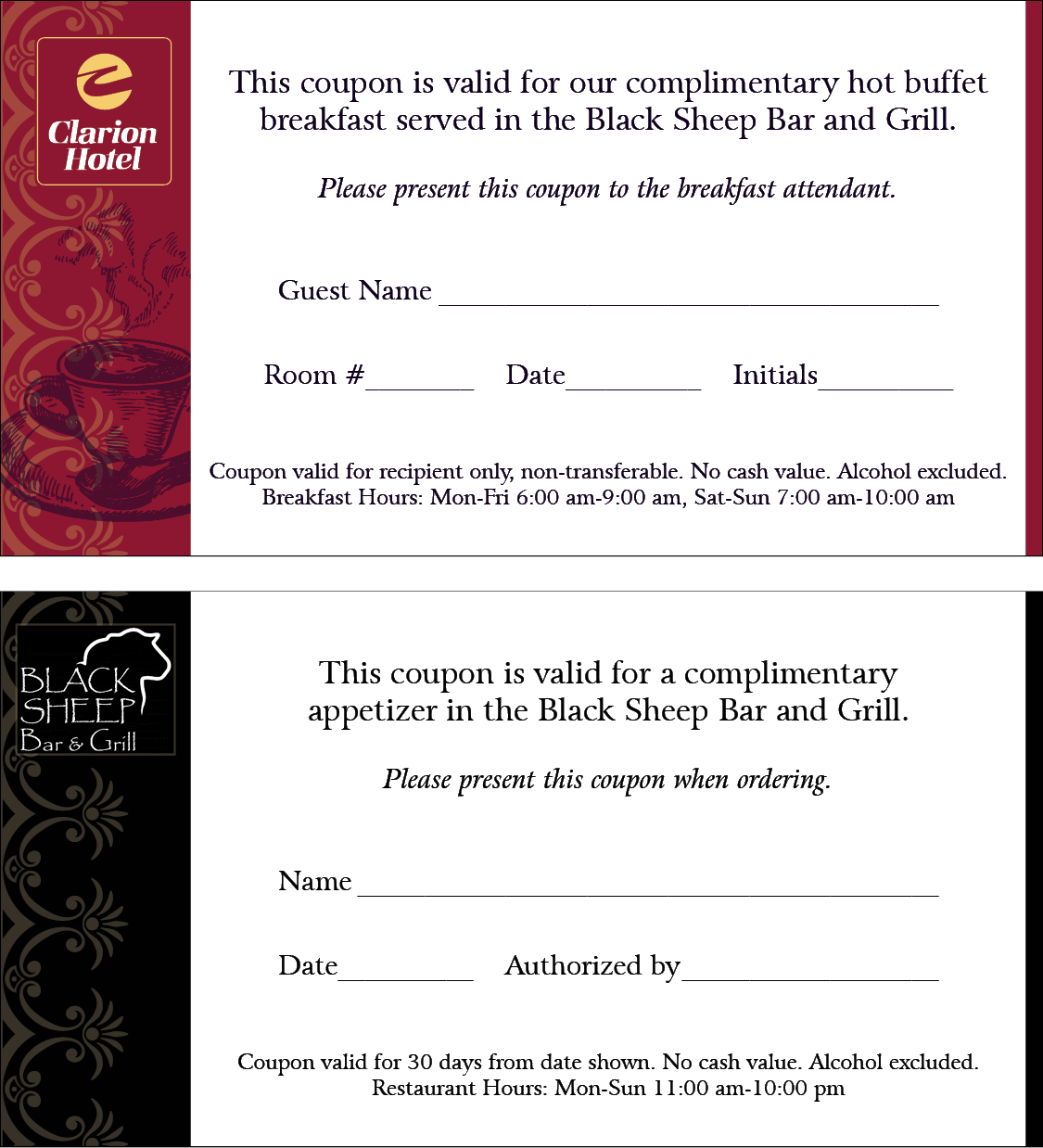 Coupons & Gift Certificates :: Q's Printing and Design
