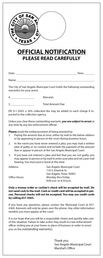 City of SA Warrant Door Hanger