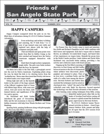 Friends of SA State Park newsletter Summer 2014