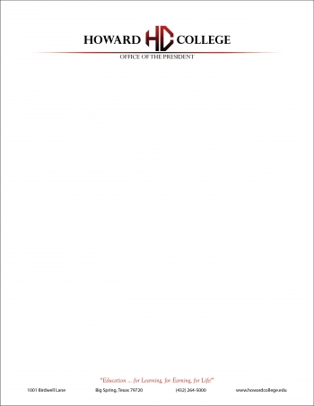 Howard College president letterhead