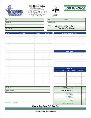 Rapid Refrigeration Invoice