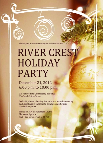 River Crest invitation