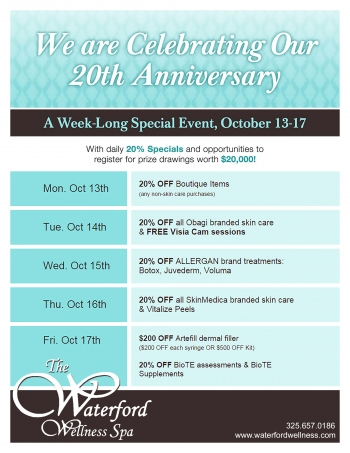 Waterford Wellness 20th anniversary flyer