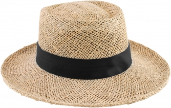 straw golfers hat with band